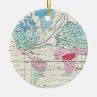 Vintage World Climate Map (1870) Ceramic Ornament
