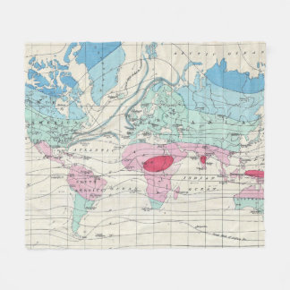 Vintage world map fleece blankets vintage world map blanket designs vintage world climate map 1870 fleece blanket gumiabroncs Image collections