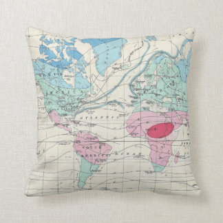Vintage World Climate Map (1870) Throw Pillow