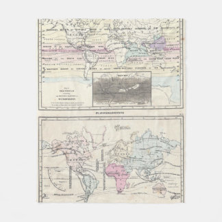 Vintage World Climate & Vegetation Map (1861) Fleece Blanket