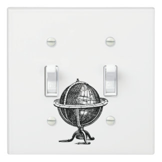 Vintage World Globe Lithograph Drawing BW Light Switch Cover