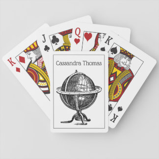 Vintage World Globe Lithograph Drawing BW Playing Cards