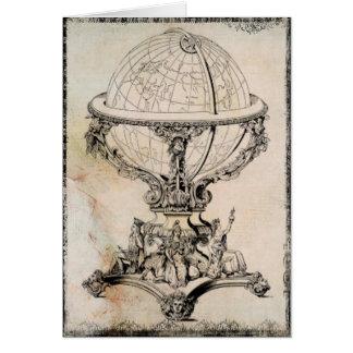 Vintage World Globe Map Print Blank Greeting Card