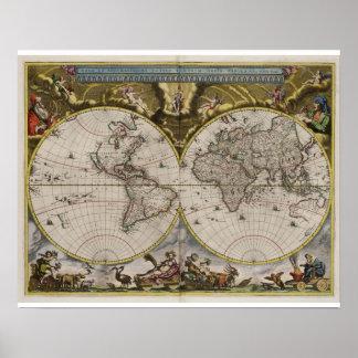 Vintage World Map (1664) Poster