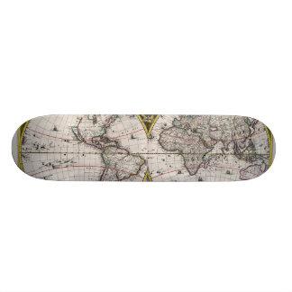 Vintage World Map (1664) Skateboard