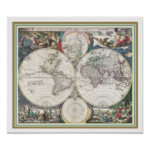 Vintage World Map 18 x 21 Poster