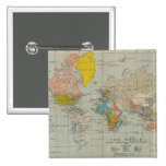 Vintage World Map 1910 2 Inch Square Button