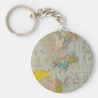 Vintage World Map 1910 Basic Round Button Keychain