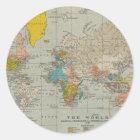 Vintage World Map 1910 Classic Round Sticker