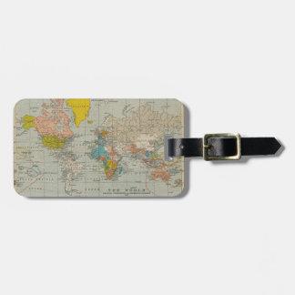 Vintage World Map 1910 Luggage Tag