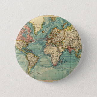 Vintage World Map 2 Inch Round Button