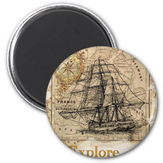Vintage World Map 2 Inch Round Magnet