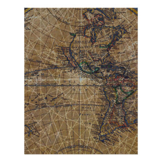 Vintage World Map Abstract Design Letterhead