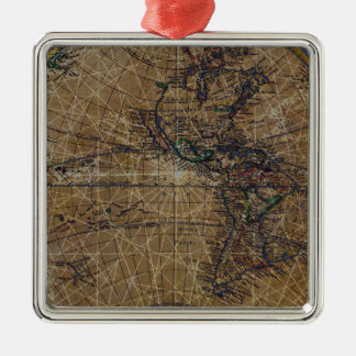 Vintage World Map Abstract Design Metal Ornament