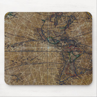 Vintage World Map Abstract Design Mouse Pad