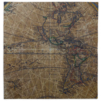 Vintage World Map Abstract Design Napkin