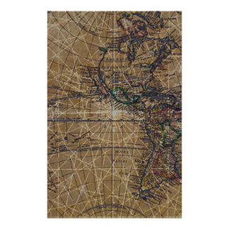 Vintage World Map Abstract Design Stationery