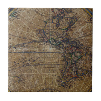 Vintage World Map Abstract Design Tile