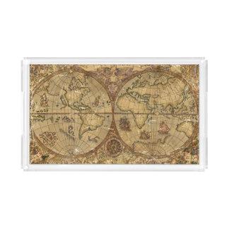 Vintage World Map Acrylic Tray