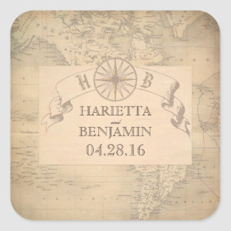 Vintage World Map Adventure and Travel Wedding Square Sticker