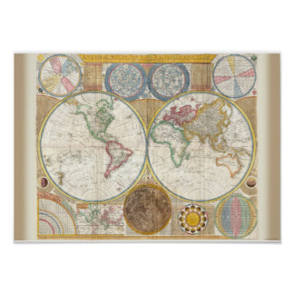 Vintage World Map and Astronomy Chart Exquisite