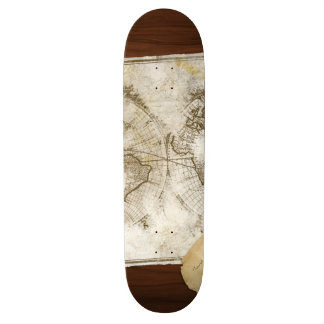 Vintage World Map And Tools Skate Deck