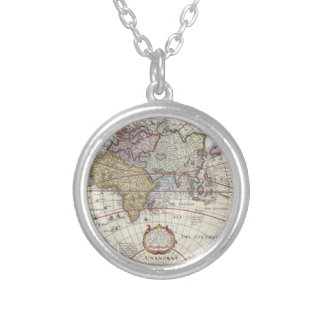 Vintage World Map Antique Silver Plated Necklace