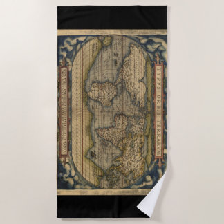 Vintage World Map Atlas Historical Beach Towel
