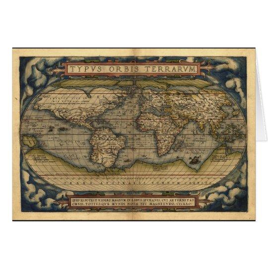 Vintage World Map Atlas Historical Design Card