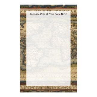 Vintage World Map Atlas Historical Design Custom Stationery