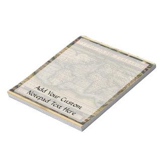 Vintage World Map Atlas Historical Design Notepad