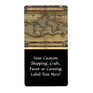 Vintage World Map Atlas Historical Design Shipping Label