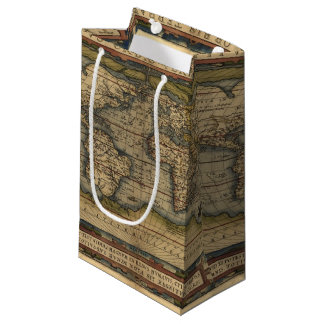 Vintage World Map Atlas Historical Design Small Gift Bag