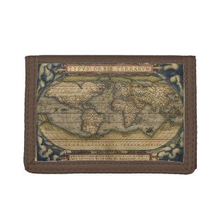 Vintage World Map Atlas Historical Tri-fold Wallet