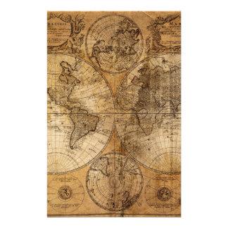 Vintage World Map Atlas Stationery