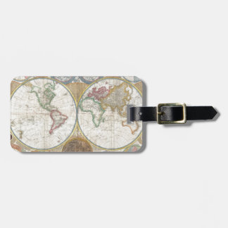 Vintage World Map Bag Tag
