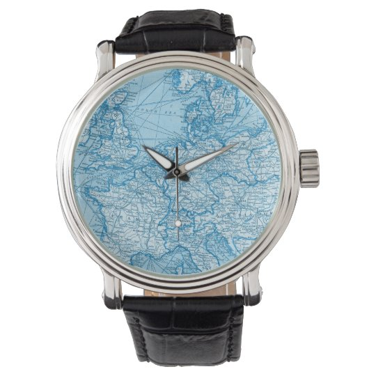 Vintage World Map Blue Travel Watch