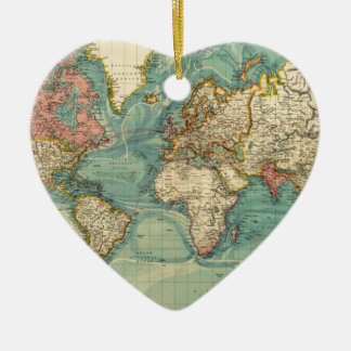 Vintage World Map Ceramic Heart Ornament