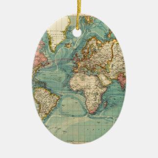 Vintage World Map Ceramic Oval Ornament