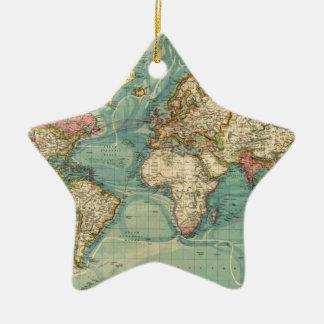 Vintage World Map Ceramic Star Ornament