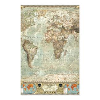 Vintage World Map Customizable Product Stationery