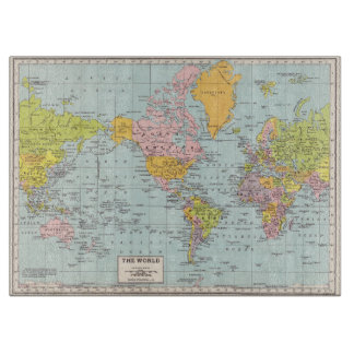 Vintage World Map cutting board