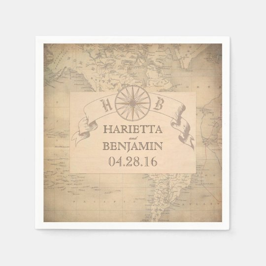 Vintage World Map Destination Wedding Disposable Napkin