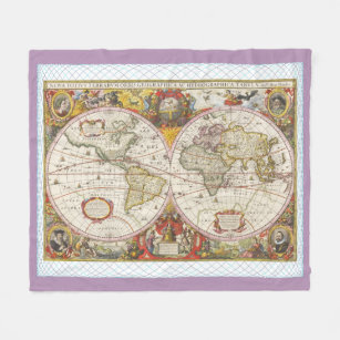 Personalized vintage world map blankets throws zazzle ca vintage world map fleece blanket gumiabroncs Image collections