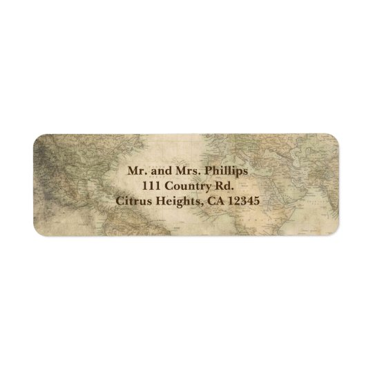 Vintage World Map Geography Travel Unique Return Address Label