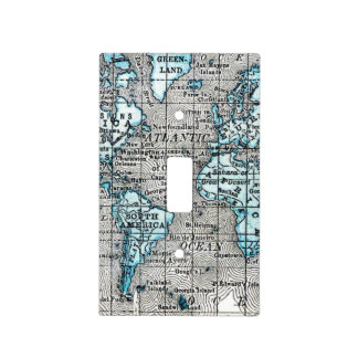 Vintage World Map in Black and Blue Light Switch Cover