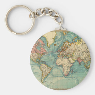 Vintage World Map Keychain