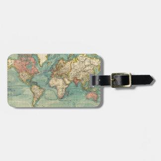 Vintage World Map Luggage Tag