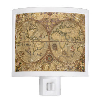 Vintage World Map Night Lites