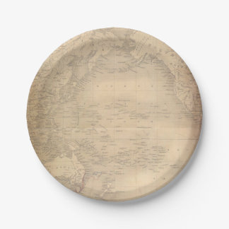Vintage World Map Old Parchment Paper Plate